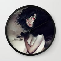 clouds Wall Clocks featuring Dark Clouds by loish
