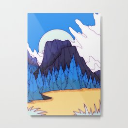 The blue forest by the lake  Metal Print