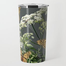 "CREAM COLORED BUTTERFLIES ""SPRING SONG"" LACE FLOWERS Travel Mug"