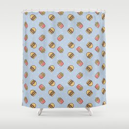 Cute pink brown blue funny fries burger food triangles pattern Shower Curtain