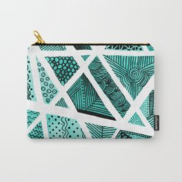 Geometric doodle pattern - turquoise and black Carry-All Pouch