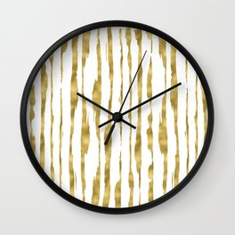 Small uneven hand painted gold stripes on clear white - vertical pattern Wall Clock