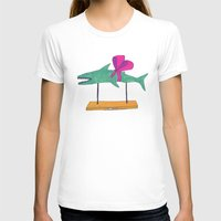 shark T-shirts featuring shark by Maybe Mary