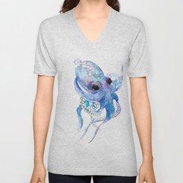 Octopus, sky blue, royal blue sea world underwater scene, beach house art Unisex V-Neck