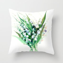 Lilies of the Valley. spring flowers, green white floral art Throw Pillow