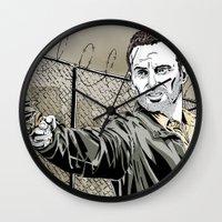 rick grimes Wall Clocks featuring Walking Dead - Rick Grimes  by Averagejoeart