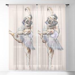 Pug Ballerina in Dog Ballet | Swan Lake  Sheer Curtain