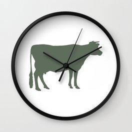 Cow: Green Wall Clock