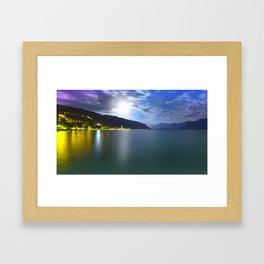 Moonlight Over Geneva Lake Framed Art Print