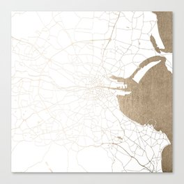 Dublin White on Gold Street Map II Canvas Print
