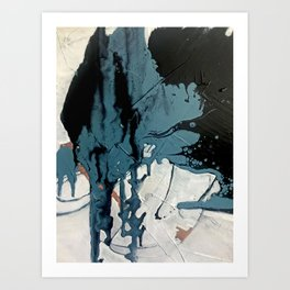 Fortune: A bold, minimal, abstract mixed-media piece in blue and black Art Print