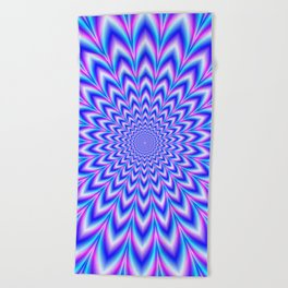 Psychedelic Pulse in Blue and Pink Beach Towel