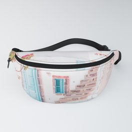 Santorini Greece Mamma Mia Pink House Travel Photography in hd. Fanny Pack