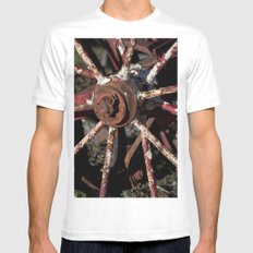 Rusted Wheel MEDIUM White Mens Fitted Tee