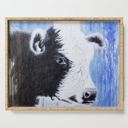 Black and White Cow Acrylic Painting Serving Tray