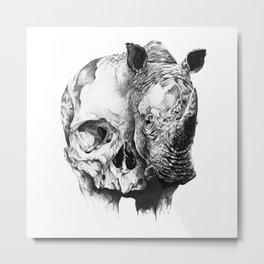 rhinoceros skull head Metal Print