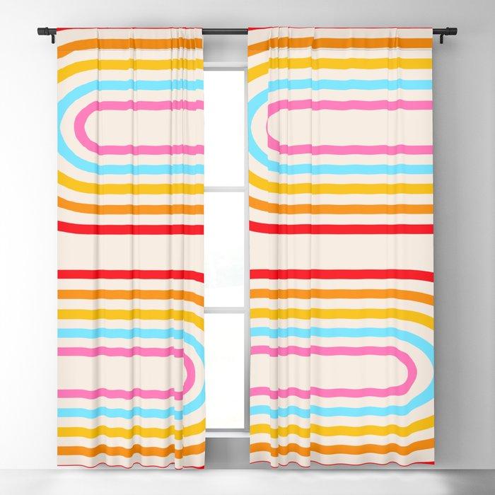 Retro Rainbow Arches Blackout Curtain