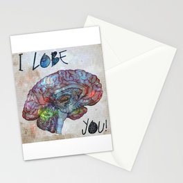 Brain & Galaxy, I lobe you print Stationery Cards