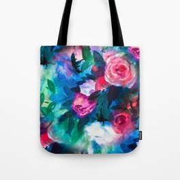 Watercolor Rose Medley with Sea Blue and Teal Tote Bag