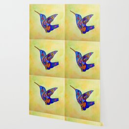 humming bird in color with green-yellow back ground Wallpaper