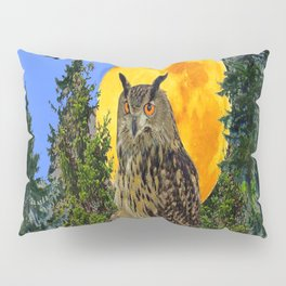 OWL WITH FULL MOON & TREES NATURE BLUE DESIGN Pillow Sham