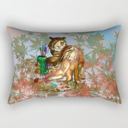Female wood elf druid with a tiger for dnd fans Rectangular Pillow