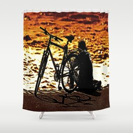 Chilling by the river Shower Curtain