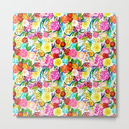 Neon Summer Floral (Smaller Print size) Metal Print