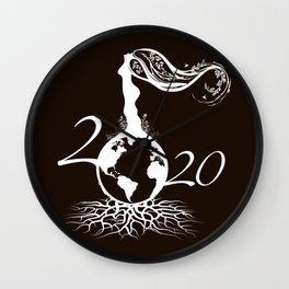 Mother Earth 2020 - White Outline On Brown Wall Clock
