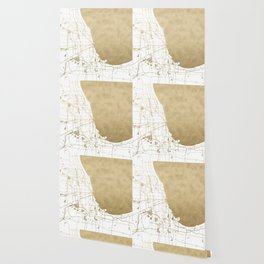 Chicago Gold and White Map Wallpaper