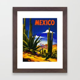 Vintage Mexico Village Travel Framed Art Print