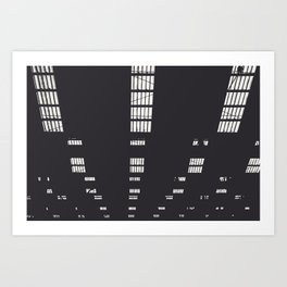 Abstract black and white lines art print / Parking lot in Antwerp, Belgium Art Print