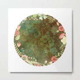 Vintage Green floral Metal Print