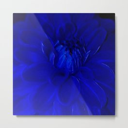 Royal Blue Fractal dahlia Metal Print