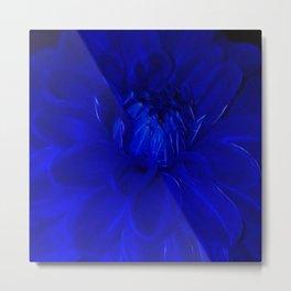 Royal Blue Fractal dahlia Metal Print