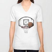 basketball V-neck T-shirts featuring basketball by Penfishh