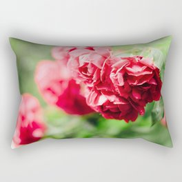 Buds of tea roses hanging in clusters on bushes Rectangular Pillow