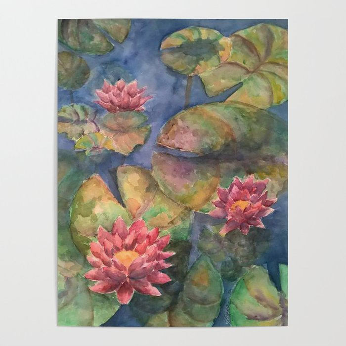 Lilypads And Lotus Flowers Poster By Carriezcreations Society6