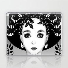 Black and white floral portrait Laptop & iPad Skin