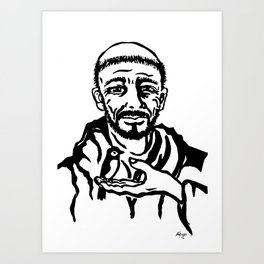 St. Francis of Assisi black and white block print style Art Print