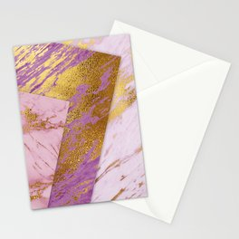 Luxurious Pink & Purple Marble With Gold Nugget Veins Stationery Cards