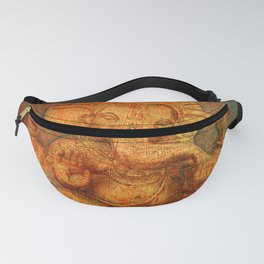Lord Ganesh On a Distress Stone Background Fanny Pack
