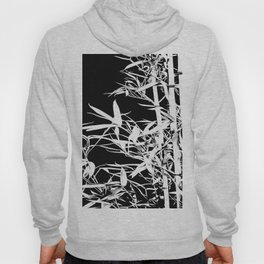 White Bamboo Silhouette On Black Hoody