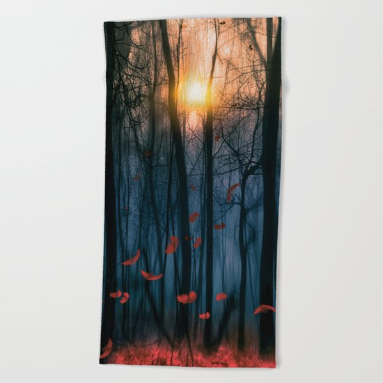 Red feather dance  (colour option) Beach Towel