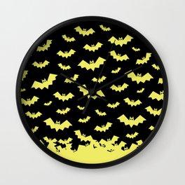 Geometric Neon Bats Pattern Design Wall Clock
