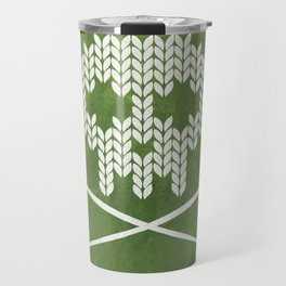 Knitted Skull - White on Olive Green Travel Mug