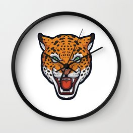 Angry Jaguar Face Panthera Onca Wall Clock