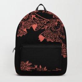 Vintage Lace Hankies Black and Peach Echo Backpack