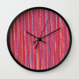 Stripes  - Candy pink red orange and blue Wall Clock