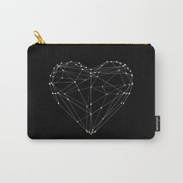 Polygon Love Heart modern black and white minimalist home room wall decor canvas Carry-All Pouch